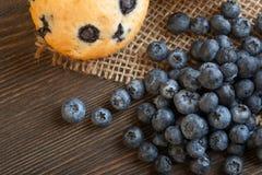 Muffin mit Blaubeeren auf einem Holztisch neue Beeren und swe Lizenzfreies Stockfoto