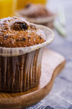 Muffin mit Rosinen stockbilder