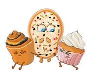 Muffin och kakan kränker pizza också vektor för coreldrawillustration Royaltyfri Bild