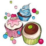 Muffin och muffinbakgrund Arkivbild