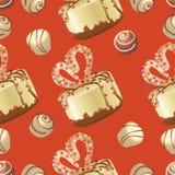 Muffin och sötsaker på en röd bakgrund seamless modell stock illustrationer