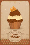 Muffin with orange. Vintage dessert menu - a muffin with orange on retro background stock illustration