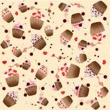Muffin på den gula bakgrunden Arkivbilder