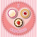 Muffin på hjärtaform Vektor Illustrationer