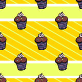 Muffin Pattern. Muffins on the yellow background with strips. Vector illustration Royalty Free Stock Images