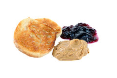 Muffin, Peanut Butter and Jelly on White Backgro Stock Photos