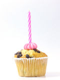Muffin and pink candle. Cupcake with a birthday candle on Royalty Free Stock Images
