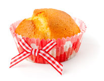 Muffin in pink plaid paper cup Royalty Free Stock Images