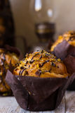 Muffin with pistachios and chocolate stains Stock Photos