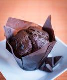 Muffin - queque do chocolate Imagens de Stock Royalty Free