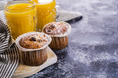 Muffin with raisins Stock Photos
