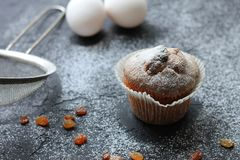Muffin with raisins sprinkled with powdered sugar on a wooden background and are ingridient on the a blurry background royalty free stock photography