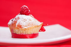 Muffin with raspberries Royalty Free Stock Photo