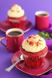 Muffin-Rot-Samt. Lizenzfreies Stockbild