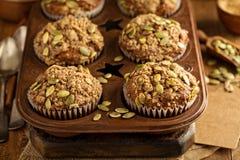 Muffin sani della zucca con i semi Fotografia Stock