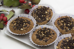 Muffin saporito con i dolci della mandorla e del cioccolato Fotografia Stock Libera da Diritti