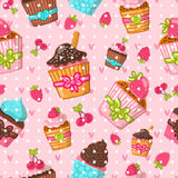 Muffin seamless pattern. Cupcake background. Hand drawn vector illustration. Food image stock illustration