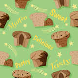 Muffin seamless pattern Stock Photo