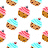 Muffin seamless vector pattern Stock Photos