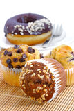 Muffin Series 02. Different favor baked muffin on bamboo mat royalty free stock photo