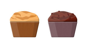 Muffin set. Chcolate and vanilla cupcake. Vector illustration in flat style Royalty Free Stock Photography