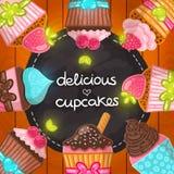 Muffin set. Cupcake frame. Hand drawn vector illustration. Food image royalty free illustration
