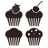 Muffin set. Cupcake icons. On white background Stock Images