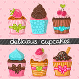 Muffin set. Cupcake set. Hand drawn vector illustration. Food image Royalty Free Stock Photo