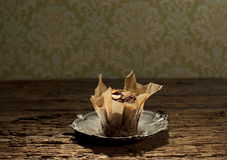 Muffin on silver plate Royalty Free Stock Photos