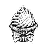 Muffin skissar den isolerade symbolen Efterrätt för tappningkoppkaka som dekoreras med pilbågevektorillustrationen Royaltyfria Bilder