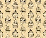 Muffin som bakar den sömlös hand drog modellen royaltyfri illustrationer