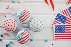 Muffin som dekoreras med 4th det juli temat Arkivfoton