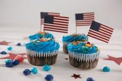 Muffin som dekoreras med 4th det juli temat Royaltyfri Foto