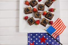 Muffin som dekoreras med 4th det juli temat Arkivbild