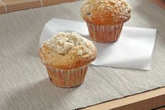 Muffin with sponge on a wooden table royalty free stock photo