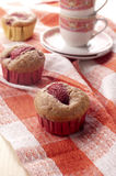 Muffin with strawberry. Homemade muffin with strawberry and sugarcane Royalty Free Stock Image