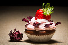 Muffin with strawberry and petals rose Stock Photo