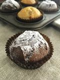 Muffin with sugar powdered royalty free stock images