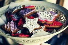 Muffin 4thofjuly, amerikan, blått, kaka, beröm, garnering, efterrätt som är festlig, flagga, mat royaltyfri fotografi