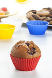 Muffin tins and blueberry muffin Royalty Free Stock Image