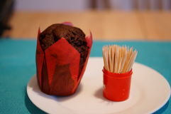 Muffin and toothpicks Stock Photos