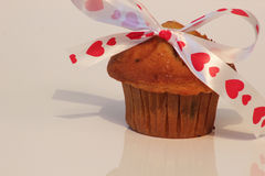 Muffin valentine with bow Stock Image