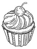 Muffin Vintage Retro Woodcut Style. A muffin cupcake cake hand draw in a retro vintage woodcut engraved or etched style Royalty Free Stock Photo