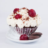 Muffin with whipped cream, cherries and crumbs. Muffin in a containter with whipped cream, cherries and crumbs on a white plate Royalty Free Stock Photos