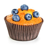 Muffin With Berries Close-up Isolated On A White Royalty Free Stock Photo
