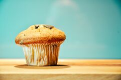 Muffin on wooden board Stock Photo
