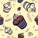 MuffinCard3. Pattern made from different muffins. Vector illustration Royalty Free Stock Images
