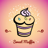 MuffinCard4. Sweet muffin on the colored background. Vector illustration Royalty Free Stock Photos