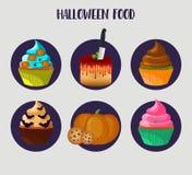 muffiner halloween Vektor 10eps Söta kakor ställde in med pumpa, ögat, slagträgarneringar Arkivfoto