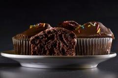 Muffiner med chokladefterrätten Royaltyfria Bilder